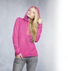 WOMEN`S FASHION BASIC LONG SLEEVE HOODED TEE 887L 187