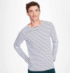 MEN´S LONG SLEEVE STRIPED T-SHIRT MARINE 01402 502